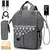 Baby Wickelrucksack Wickeltasche mit Wickelunterlage Multifunktional Große Kapazität Babytasche Reisetasche für Unterwegs Grau