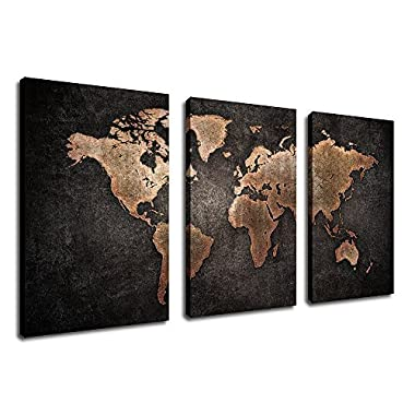yearainn Canvas Wall Art Vintage World Map Painting with Grunge Textures Black Background - 30  x 20  x 3 Pieces Large Canvas Art Old Map Picture Artwork Rustic Home Wall Decor