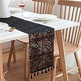 Nicole Knupfer Camino de mesa de macramé, vintage, tejido a mano, decoración de mesa, para bodas, fiestas, fiestas, color negro, 24 x 160 cm