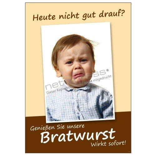 net-xpress Lustiges Plakat für Bratwurst-Werbung DIN A1, Werbeplakat Poster Imbiss Wurst