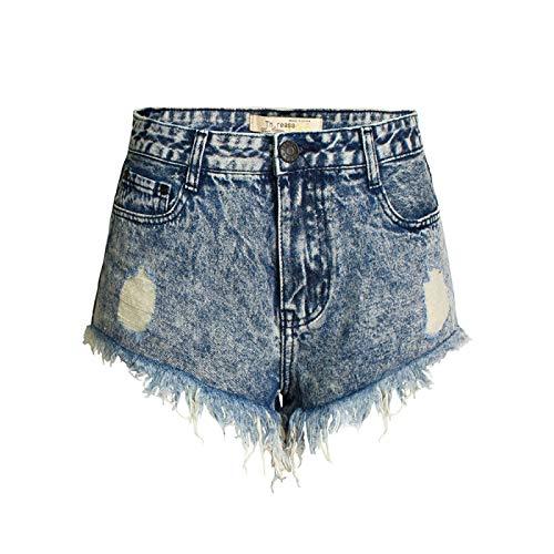 Pantalones Cortos de Mezclilla Rasgados a la Moda para Mujer Remache de Personalidad de Verano Pantalones Cortos Lavados Desgastados elásticos cómodos 40