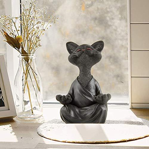 ROERDTRY Katze Statue Meditation Statue Zen Deko Figur Harz Meditation Yoga Decor,Meditation Yoga Zen Hund Statue Hund Buddha,Feng Shui Ornament Skulptur,Sammlung Handwerk