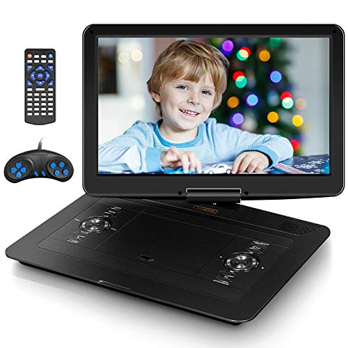 """Jekero 17.9"""" Portable DVD Player with 15.6"""" HD Swivel Screen, PersonalDVDPlayer with 5 Hrs Rechargeable Battery, MobileDVDPlayer for Kids, Home, Sync to TV, Support USB/SD & Multiple Disc Formats"""