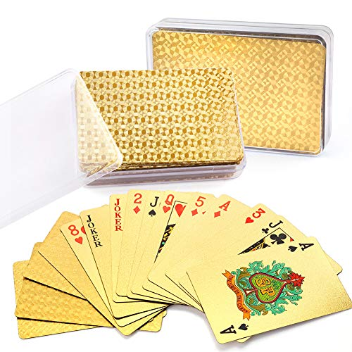 LotFancy 24K Gold Foil Playing Cards, 2 Decks of Cards with Boxes, Waterproof, Plastic, Mosaic Backing, Bridge Size Standard Index, for Table Cards Games, Magic Props
