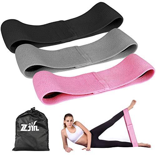 ZJTL bandas de resistencia, bandas de resistencia de tela para piernas y trasero: juego de 3 unidades (incluye funda de transporte)