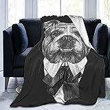 LOSUMIGE Gráfico Bulldog inglés Animales Vida Salvaje Divertido Cachorro Belleza Perro Mascota Romántico Vintage Bebé Hermoso Twin/Double (150x200cm) Manta de Franela Ligera