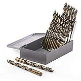 Stark 29pc Industrial Drill Bit Set Black/Gold Finish HSS 135 Degree Split Point Jobber length (1/16' - 1/2') with Storage Case