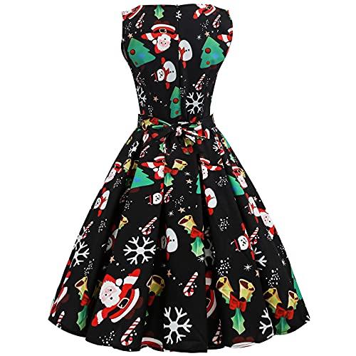 2021 Vestidos Largo para Mujer Navidad, 1950 Hepburn Vestidos Coctel Corto Vintage Cuello redondo Vestidos sin Manga Fiesta Christmas Impresión Elegante Vestido de Noche Vestidos trajes