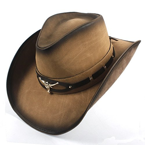 Yuying 2018 Sombrero de Vaquero de Cuero para Hombres Sombrero de Jazz Occidental con Cabeza de Toro (Color : Natural, tamaño : 58-59cm)