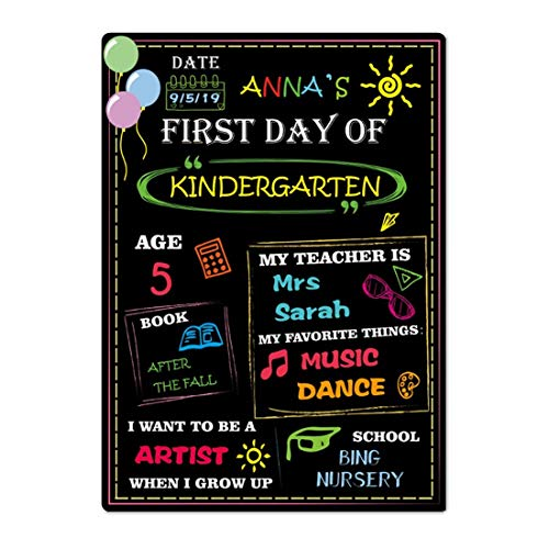 Supoice First Day of School Chalkboard Sign Large Size 10 x 14 Inch Photo Prop Back to School Signs for Kids Reusable and Easy Clean Colorful Wood Chalkboard