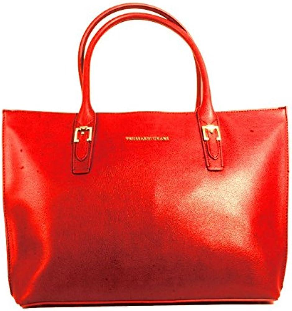 Trussardi jeans, borsa monaco per donna, tote rossa,in similpelle martellata 75BA61