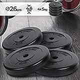 Physionics® Set de Disques de Poids - 4 x 5 kg, Ø 27 mm, avec Revêtement en Plastique - Plaques de Poids pour Barre d'Haltère, Fitness, Musculation