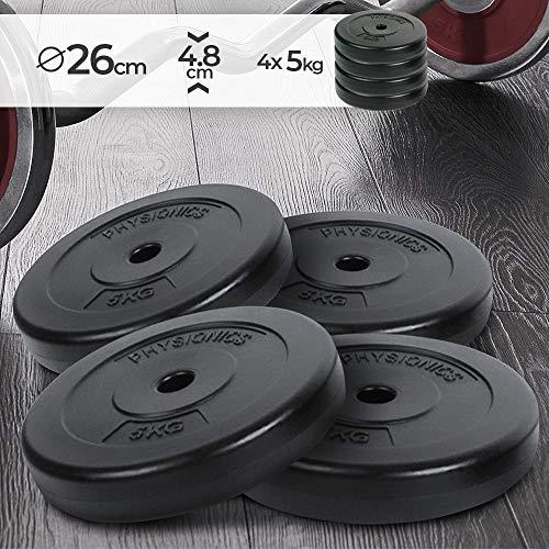 Physionics Dischi Pesi - Set di 4, 4 x 5 kg, Foro Ø 27mm, Rivestiti in Plastica, per Manubri e Bilancieri - Piastre Palestra, Fitness, Allenamento, Body Building
