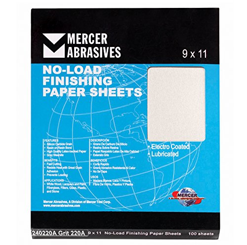 Mercer Industries 240400A Grit 400 A-Weight 9' x 11' Silicon Carbide No-Load Finishing Paper Sheets (100-Pack)