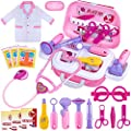 GINMIC Kids Doctor Play Kit, 22 Pieces Pretend Play Doctor Set with Roleplay Doctor Costume and Carry Case for Toddlers and Kids, Medical Dr Kit Toys for Girl Age 3 4 5 6 7 Year Old from GINMIC