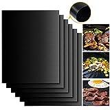PAMPEL BBQ Grillmatten, 5er Set BBQ Antihaft Grill-und Backmatte für Holzkohle- Gas- oder Elektrogrill - Hitzebeständig, Pflegeleicht und Wiederverwendbar, FDA Zulässig, 40 x 33 cm