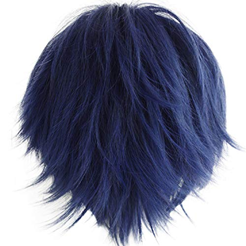 Alacos Short Fashion Spiky Layered Anime Cosplay Wig HalloweenChristmasCarnivalDressUpPretendPlayPartyWigGift+Cap, Dark Blue, One Size