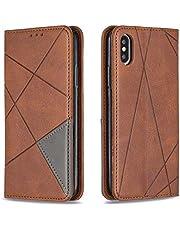 Hoesje voor iPhone XS/iPhone X Wallet Book Case, Magneet Flip Wallet met Kaarthouders slots Robuuste schokbestendige Bookcase voor Apple iPhone XS/X - JEBF090073 bruin