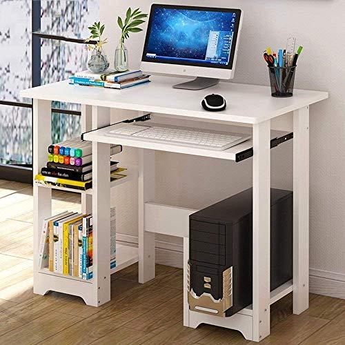 BH Mesas de café Escritorio Moderno para computadora Pc Mesa de Estudio para computadora portátil Estación de Trabajo multipropósito para Oficina en casa con estantería de Almacenamiento, Blanco