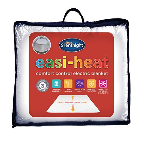 Silentnight Easi Heat Microfleece Electric Blanket, Single, White, 90 x 190cm