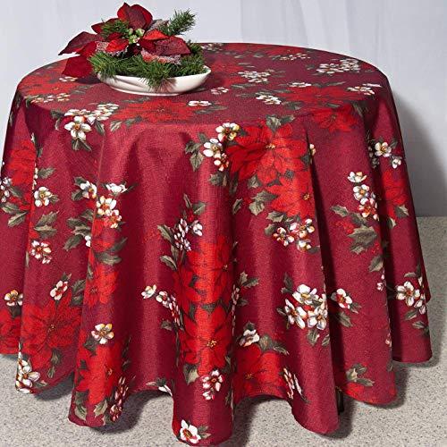 Kamaca Tischdecke Wonderful X-Mas TIME in rot mit Weihnachtssternen EIN HINGUCKER in Winter Advent Weihnachten (Tischdecke 160 cm rund)