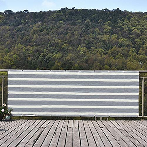 Velas de sombra Cubierta Exterior del Balcón con Arandelas para La Protección de La Pantalla de La Valla de Privacidad y Plantas, Sombra de Rayas Blancas Grises Tela de Malla Cubierta de Sombra de Pér