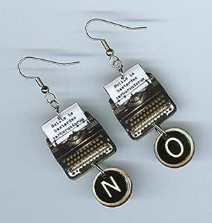 Typewriter earrings key quote Nolite te Bastardes Carborundorum