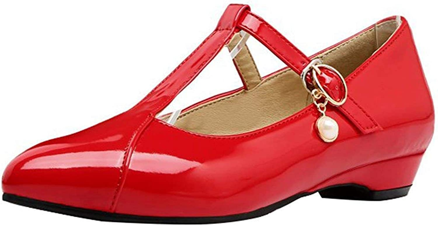 Ghapwe Women's Comfy Pointed Toe Pump - Buckle T-Strap Pendant - Block Low Heels shoes White 7 M US