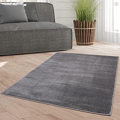 Taracarpet Weicher Kurzflor Designer Teppich modern für Wohnzimmer, Schlafzimmer, Kinderzimmer und Arbeitszimmer dunkelgrau 080x150 cm