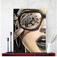 モダンなサングラスファッション女性キャンバス絵画壁アート写真リビングルームの家の装飾モダンなフィギュアポスターとプリント-60x90cmx1フレームなし