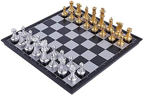 Tablero de ajedrez Atractivo juego de juegos de rompecabezas Juegos de ajedrez magnético con bandeja plegable Diversión educativa para niños adultos juego negro blanco rompecabezas divertido fiesta SJ