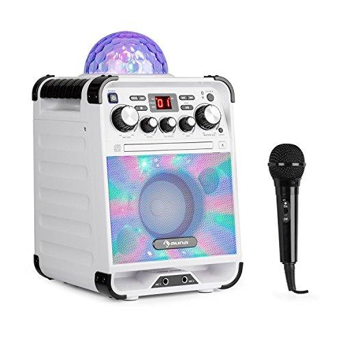 auna Rockstar - Karaoke-Anlage, Mini-Sound-System, Karaoke-System, LED-Jellyball, AVC-Funktion, Echo-Effekt, Bluetooth, CD, CD-R und CD-RW, robust, weiß