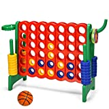 Costzon Giant 4-in-A-Row, Jumbo 4-to-Score Giant Game w/ Basketball Hoop, Ring Toss, Quick-Release Slider, 42 Jumbo Rings, Indoor Outdoor Family Connect Game for Kids & Adults, Backyard Games, Green