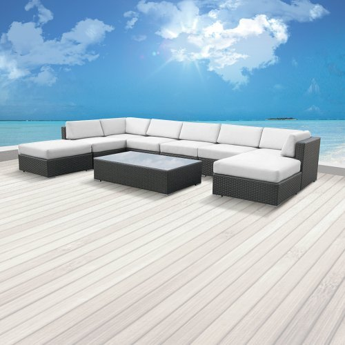 Hot Sale Luxxella Outdoor Patio Wicker MALLINA Sofa Sectional Furniture 9pc All Weather Couch Set OFFWHITE