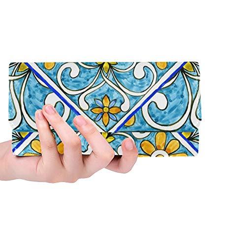 Einzigartige italienische Majolika-Fliesen-Blumenverzierungs-Frauen-dreifachgefaltete Mappen-Lange Geldbeutel-Kreditkarte-Halter-Fall-Handtasche