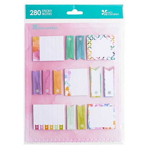 Erin Condren Designer Accessories Snap - in Stylized Sticky Notes - Watercolor Design Theme. Great for Adding Extra Color to Your Planners and Organizers