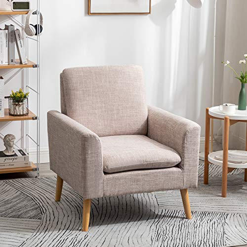 LEPAK Armchair Upholstered Accent Chair Modern Comfy Linen Fabric Sofa Leisure Chairs with Pine Legs for Bedroom Living Room Tub Chairs (Beige)