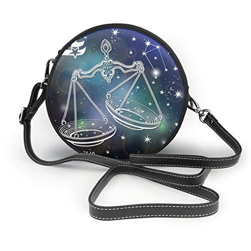 Wrution Waage Vintage Horoskop Sternzeichen Sternchen Rund Cross-Body Reißverschluss Schultertasche Weiches Leder Kreis Geldbörse für Damen Personalisiert