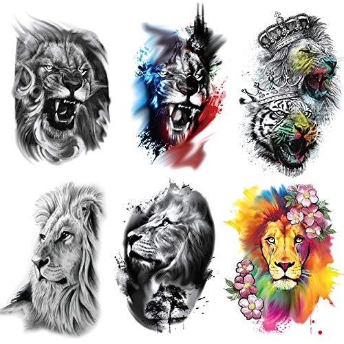 Leoars Fake Lion Arm Tattoos, 6-Sheet Large Lion Half Arm Sleeve Temporary Tattoo Stickers Adults Men Women Girls Kids Halloween Parties