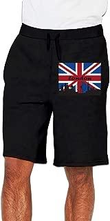 Nx55Ol@KU Men's Fashion British Flag London Skyline Jogger Sweatpant Bodybuilding Gym Shorts