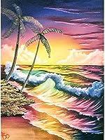 YTJBEIクロスステッチキット大人の初心者入門プレプリント刺繡キット(11ctキャンバス)Waves16x20inch日曜大工刺繡工芸品家の装飾ギフト