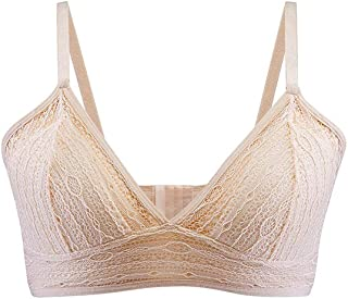 SilRiver Women's Triangle Lace Wire-Free Padded Bralette with Soft Silk Cup Wireless Bra