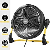 Geek Aire Battery Operated Fan, Rechargeable Outdoor Misting Fan, Portable High Velocity Metal Floor Fan with 15000mAh Detachable Battery & Misting Function, Ideal for Patio, Camping, More - 12 inch