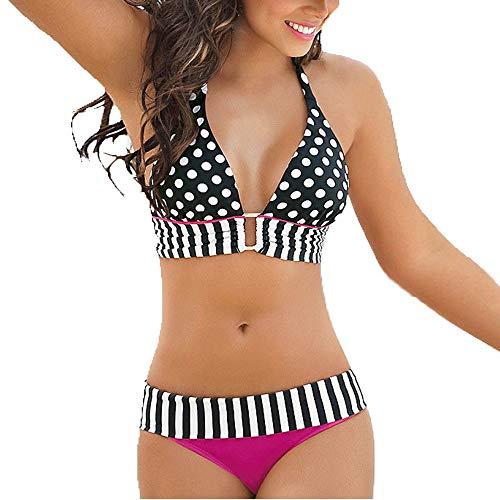 GOKOMO Bikini gestreifter BadeanzugBadebekleidung Frauen Streifen Bikini Set Bandage Push-Up Badeanzug Baden Beachwear(A,Medium)