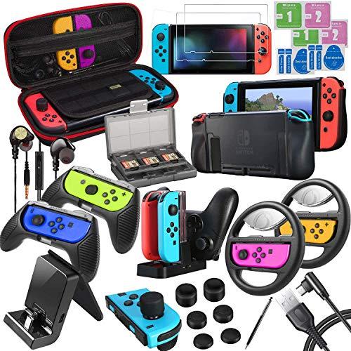 ECHTPower Accesorios para Nintendo Switch, con Funda de Transporte, Cubierta, Protector de Pantalla, Joy-con Grip y Volante, Caja de Tarjetas, Base de Cargador, Auriculares, etc