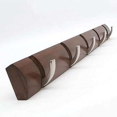 skwff estantería de Pared en Escalera Perchero Creativo salón Gancho de Almacenamiento Perchero de Pared Perchero de Madera Maciza marrón: Amazon.es: Hogar
