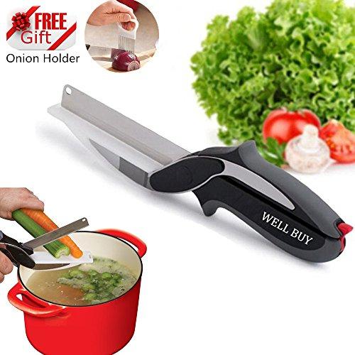 WELL BUY Clever Ciseaux de Cuisine/Coupe-légumes 2 en 1, Couteaux pour Cuisiner, ustensile pour découper légumes, Fruits, oignons, fromages, Poulet, charcuterie et salades