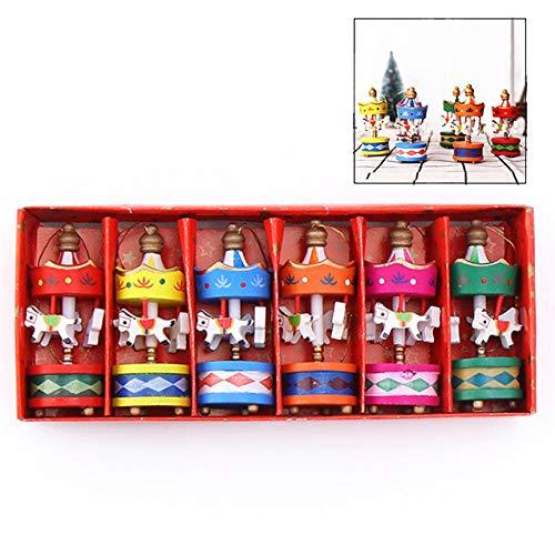 LHKJ Colgante Carrusel de árbol de Navidad 6 Mini Carrusel de Madera para Niños Mini Colgante de árbol de Navidad Regalo de Cumpleaños Navidad para Niños