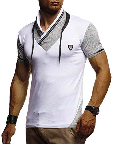 Leif Nelson Herren Sommer T-Shirt Stehkragen Slim Fit Casual Baumwolle-Anteil Cooles weißes schwarzes Männer Kurzarm-T-Shirt Hoodie-Sweatshirt-Longsleeve lang LN805 Weiß Large