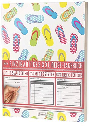 """Mein Reisetagebuch • 122 Seiten, Register, Kontakte / Neue Auflage mit Reise Checkliste / PR401 """"Strandurlaub"""" / DIN A4 Soft Cover"""
